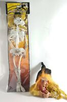 """by Spooky Creatures 2 HALLOWEEN Ornament a Hanging Witch Broom & a 12"""" Skeleton"""