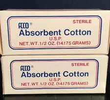 Acco Sterile U.S.P.  Absorbent Cotton 1/2 oz each (2 Packs) New Sealed