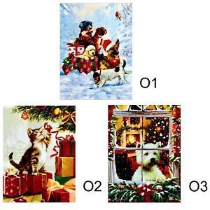 Christmas Canvas Picture 40cm x 30cm LED Light up - Pet O1 O2 O3