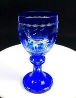"""BOHEMIAN CZECH BLUE CUT TO CLEAR SWANS AND STAG DESIGN 7 7/8"""" CHALICE 1900-1920s"""