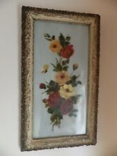a large victorian oil on glass picture of roses in a good frame