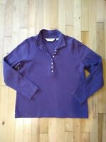 Orvis Women's Small Polo Shirt Long Sleeve Purple Plumb Mock Turtle Neck Buttons