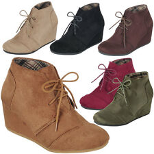 New Round Toe Vegan Suede Lace Up Med Low Wedge Heel Women Ankle Boot Booties US