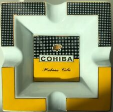 COHIBA Ashtray Classic Yellow & White Square Ceramic Cigar Ashtray 4 Cigars Rare