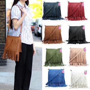 Womens Faux Leather Tassel Fringe Shoulder Bag Crossbody Bags for Women Gift