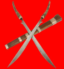 Rare 19th C. Indonesian Sumatra Double-Batak Sword in Silvered & Deer Stag Mount