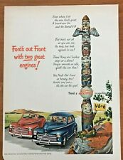 Original 1947 Magazine Print Ad FORD'S OUT FRONT FORD Auto Convertible Future