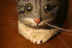 Old Carved Wood Folk Art Cat Glass Eyes Primitive Sculpture American Carving
