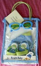 MAYFAIR BEACH BABY 4-PIECE GIFT SET - HAT, SUNGLASSES, SANDALS, TOTE - BLUE GRN