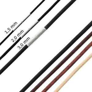 Leder-Kette Halsband Halskette Lederband glatt Edelstahl Tunnel-Drehverschluss