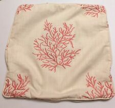 """Cotton/Linen Coral Embroidered Pillow Cover 18"""" X 18"""". EUC!"""