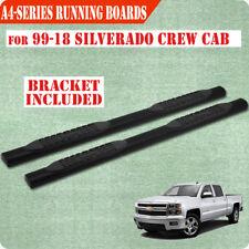"For 99-18 Chevy Silverado Crew Cab 4"" Running Boards Side Step Nerf Bar Black A"