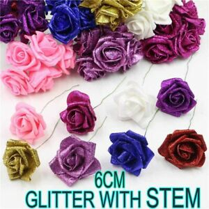6 CM GLITTER FOAM ROSES WITH STEMS Artificial Glitter Flowers Decoration UK