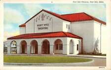Fort Sill Oklahoma Theatre Exterior Street View Linen Antique Postcard K18276