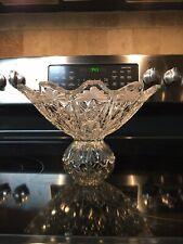 Bohemia Crystal Pedestal Centerpiece Or Bowl, Beautiful Design, Czechoslovakia