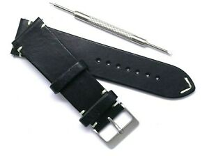 24mm Black/White Leather Classic Watch Strap Handmade W/ Spring Bar Remover Tool