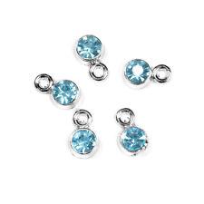 10 pcs December  rhinestone birthstone charm Silver Tone 9mm, Light  Blue