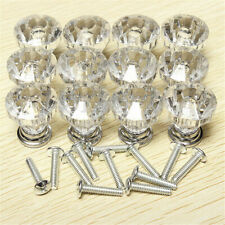 30mm Glass Diamond Crystal Dresser Knobs Drawer Pull Handle Cabinet Door 12PCS