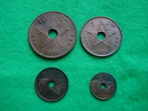 1888 Belgian Congo full set of 4 Values 1 2 5 &10 Centimes, [SE-45]