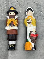 "VTG Thanksgiving Pilgrims Handmade Carved Wood Figurines 9.75"" Wooden Figures"
