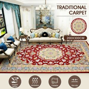 Soft Rugs Carpet Traditional Persian Floor Rug Anti-slip Bedroom Mat 200 x 300CM