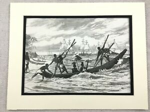 1875 Antique Print Congo Africa Tribal King Sharks Point Royal Canoe Barge Ship