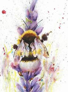Fine Art Print of BEE in LAVENDER original watercolour by HELEN APRIL ROSE   573