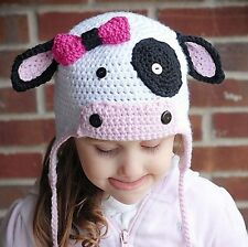 Baby Kids Girls Cows Pattern Warm Hat Winter Beanie Hooded Earflap Knitted Cap