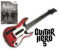 NEW Nintendo Wii Guitar Hero 5 Wireless Guitar & Beatles Rock Band Game Bundle