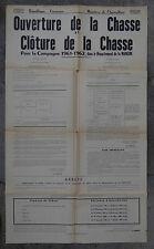 Ancienne affiche ouverture de la chasse 1961 département de la Manche Hunting