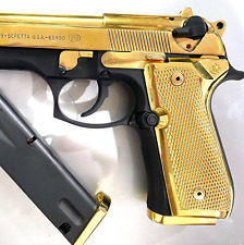 Custom Combo Beretta Grips 92/96 Series Pistols, 2 Magazine Plates Gold Plated