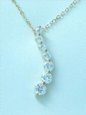 Cubic Zirconia Pendant Necklace Journey 18K Gold Plated