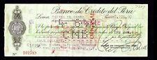 PERU 1949 BANK CHECK - NOTE REVERSE
