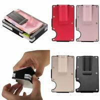 Slim Money Clip Credit Card Holder RFID Blocking Stainless Steel Wallet