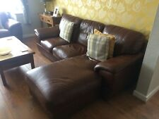 used 3 seater brown leather sofa