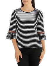 NEW Regatta Petites Embroidery Stripe Splice 3/4 Sleeve Tee Midnight