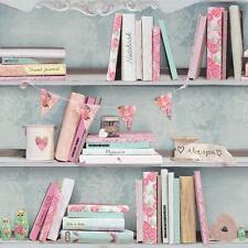 Arthouse Curious Libro Mensola Carta Da Parati A Rose Rosa Cuore
