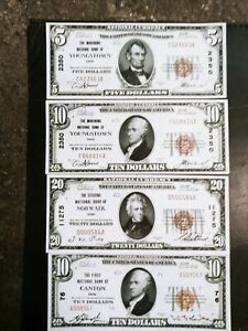 Lot of 4 Ohio National bank notes youngstown norwalk canton type 1 type 2