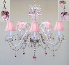 5 LIGHT VENETIAN STYLE CRYSTAL CHANDELIER PINK SHADES HEARTS LIVING DINING ROOM