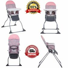 Baby Full Size High Chair 3-Position Adjustable Tray Simple Fold Seat Stencil