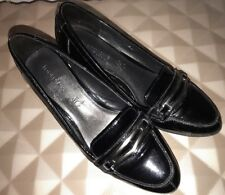 Womens M&S Footglove Black Patent Leather Mid Heels Court Shoes - UK 6  EU 39 D