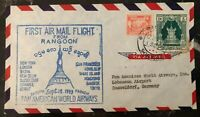 1953 Rangoon Burma Airmail First Flight Cover FFC To Düsseldorf Germany