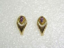 FANCY AMETHYST POST PIERCED EARRINGS IN 14K YELLOW GOLD N397-F