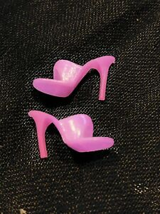 Vintage 1970s Barbie Pink Open Toe High Heel Mules Shoes Taiwan