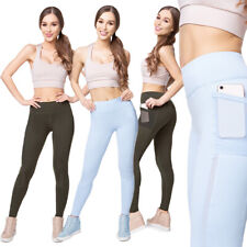 Womens Leggings with Pocket Slimming Activewear Shaping Gym Pants with Mesh HL58