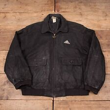 "Mens Vintage Adidas Sapporo 72 Olympics Lined Leather Jacket Black XL 48"" R5106"