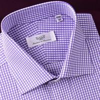 Purple Shepherd Check Mens Short Sleeve Business Casual Dress Shirt Designer B2B