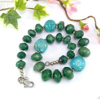Vintage Heavy Jade & Turquoise Bead Necklace - Green Jadeite - Chunky Statement