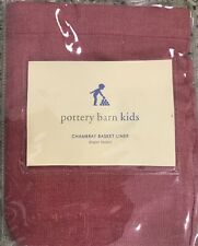 Pottery Barn Kids Red Chambray Diaper Basket Liner Never Used