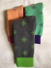 6 pr Women's 56% Merino Wool Snowflake Socks…Nice Color Mix..Sz 7-9